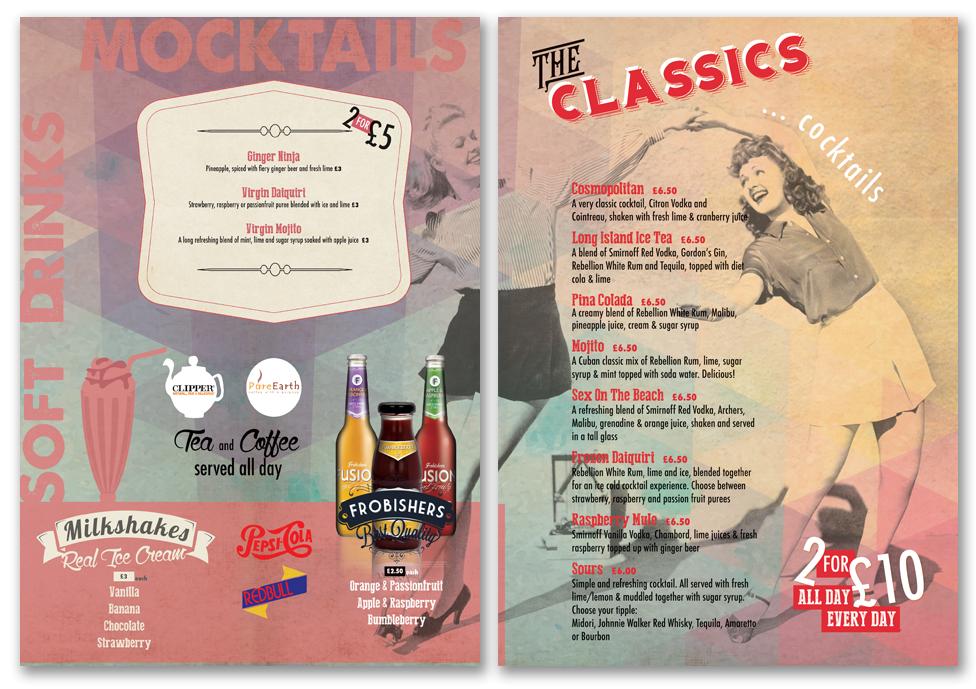 menu design, cocktail menu design, torquay, newton abbot, exeter