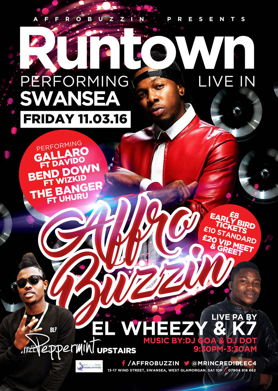 runtown swansea nightclub flyer design