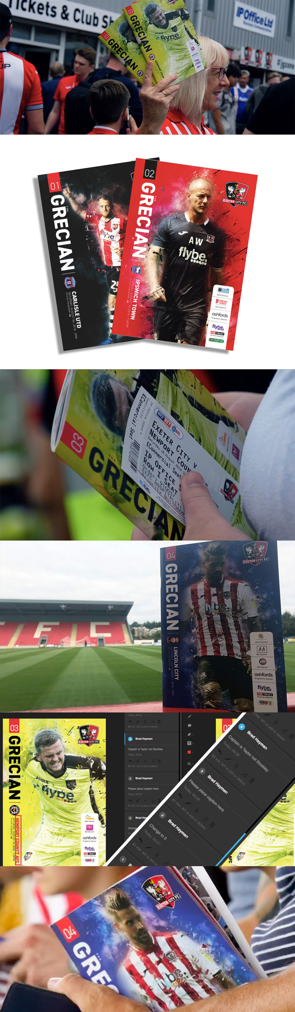 Programme design, brochure design, Exeter, Exeter City, Exeter City Football Club, Newton Abbot, Graphic Design,