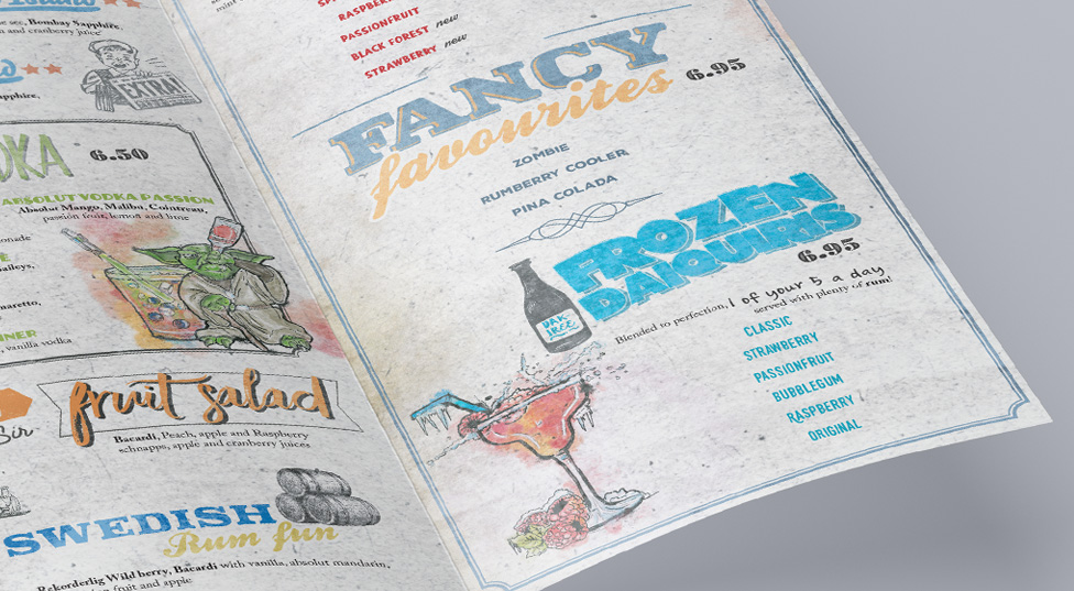 Swansea nightclub design menu design