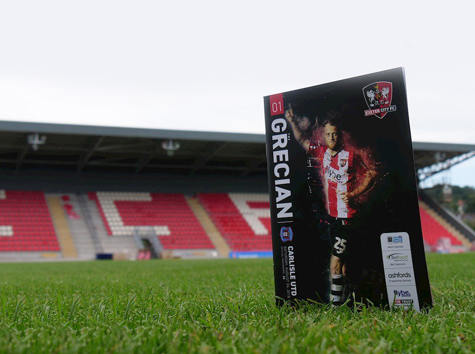 programme design, graphic design, Exeter, Exeter city football club